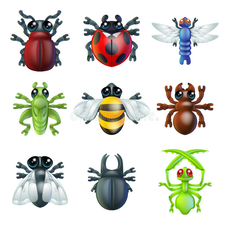 Insect bug icons. A series set of colourful insect bug icons, including ladybird mantis dragonfly bee ant grasshopper fly and other beetles royalty free illustration