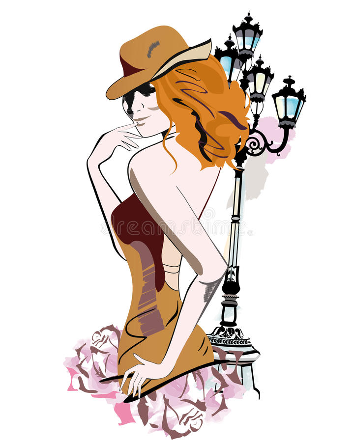 Series of sketches of beautiful fashion girls vector illustration