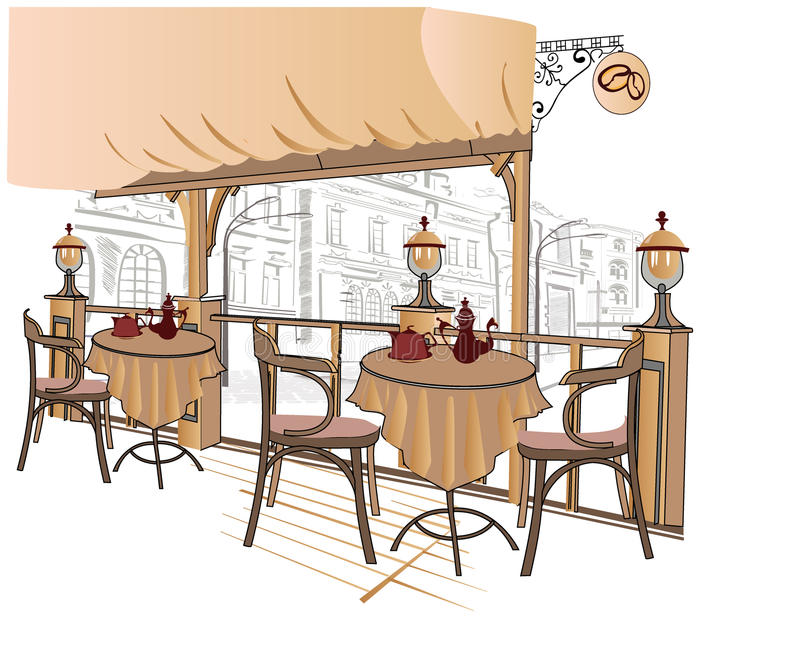 Download Series Of Sketches Of Street Cafes Stock Vector - Image: 23455617