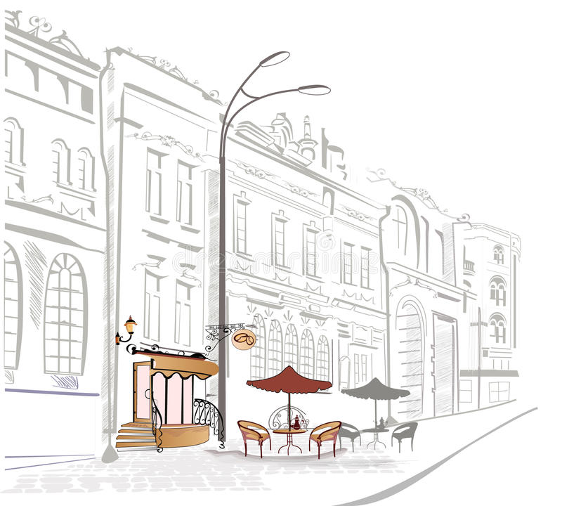 Series of sketches of streets with cafe stock illustration