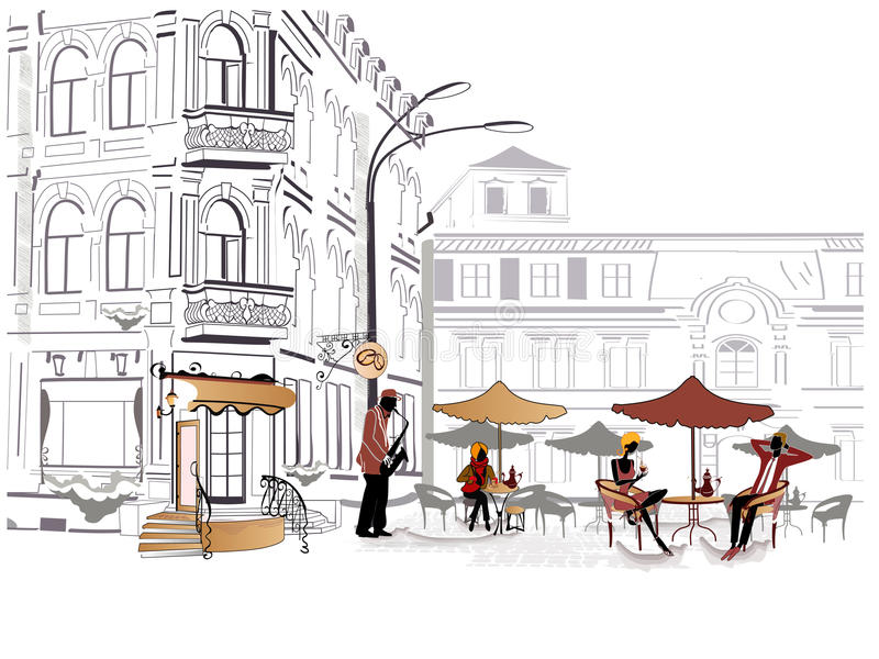 Download Series Of Sketches Of Streets With Cafe Stock Photo - Image: 21132970