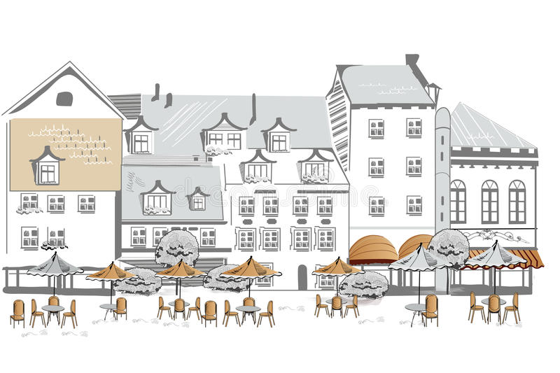 Series of sketches of streets with cafe royalty free stock photography