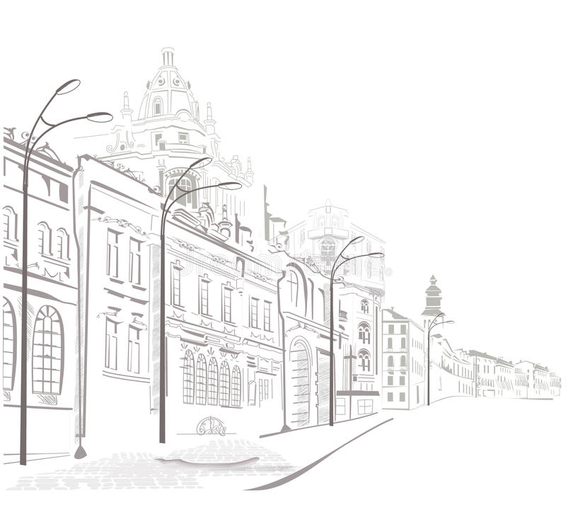 Series of sketches of streets in old city. Sketches of nice streets in old city