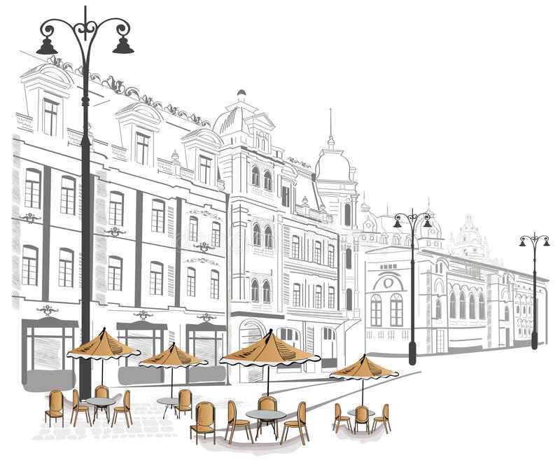 Series of sketches of streets in old city stock illustration