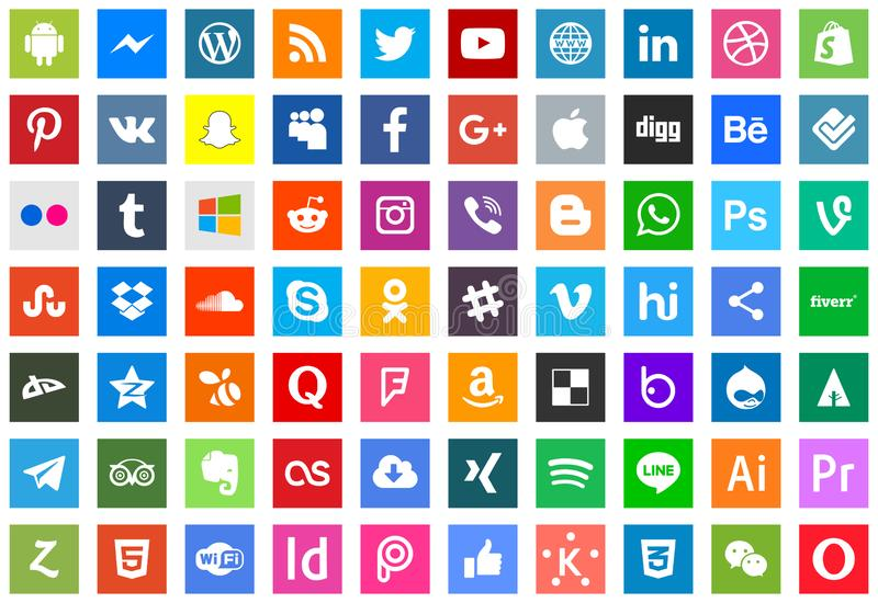 Series of social media and technology icons vector illustration