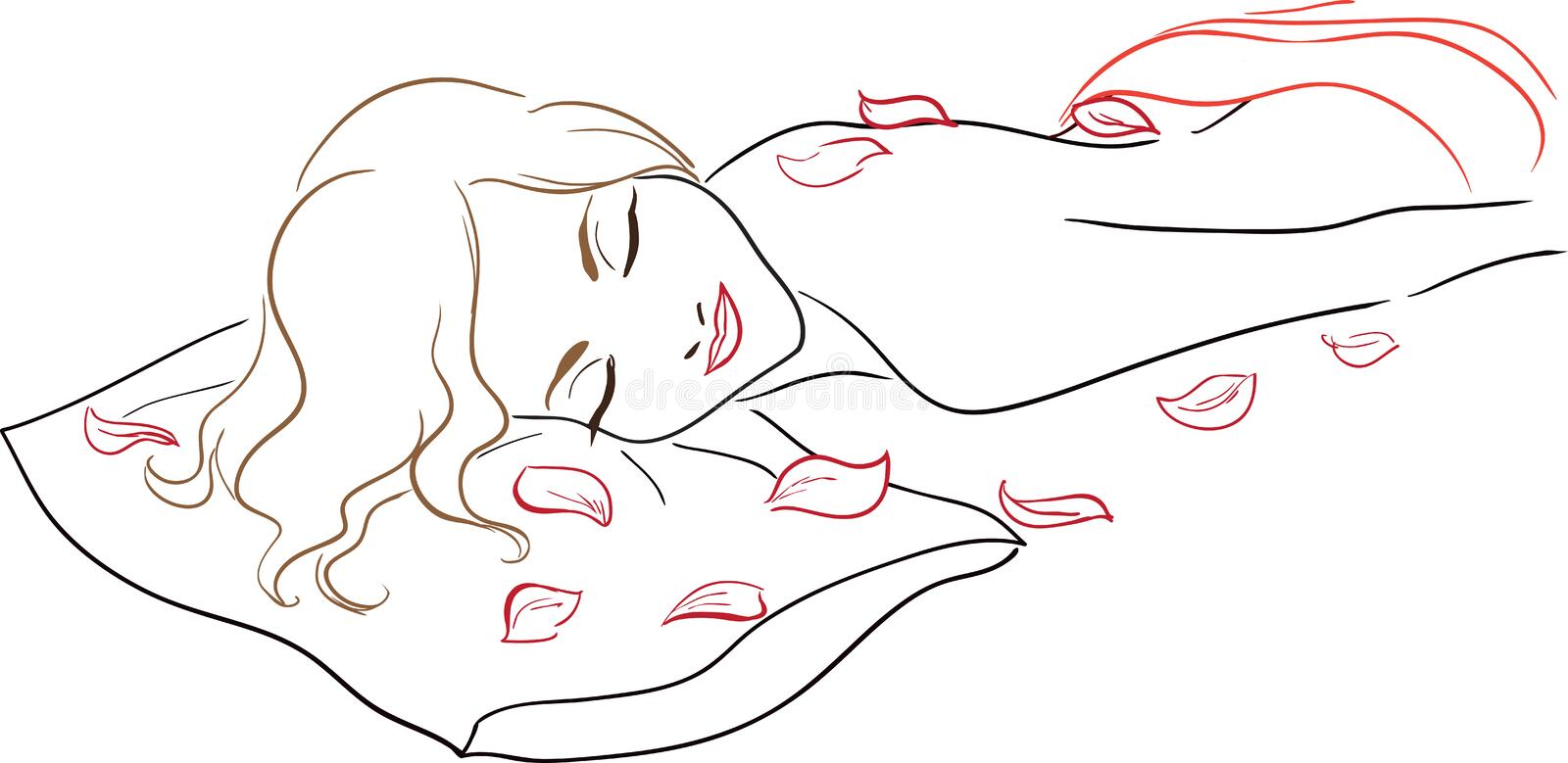 Series Spa Salon - Massage, woman with rose petals stock illustration