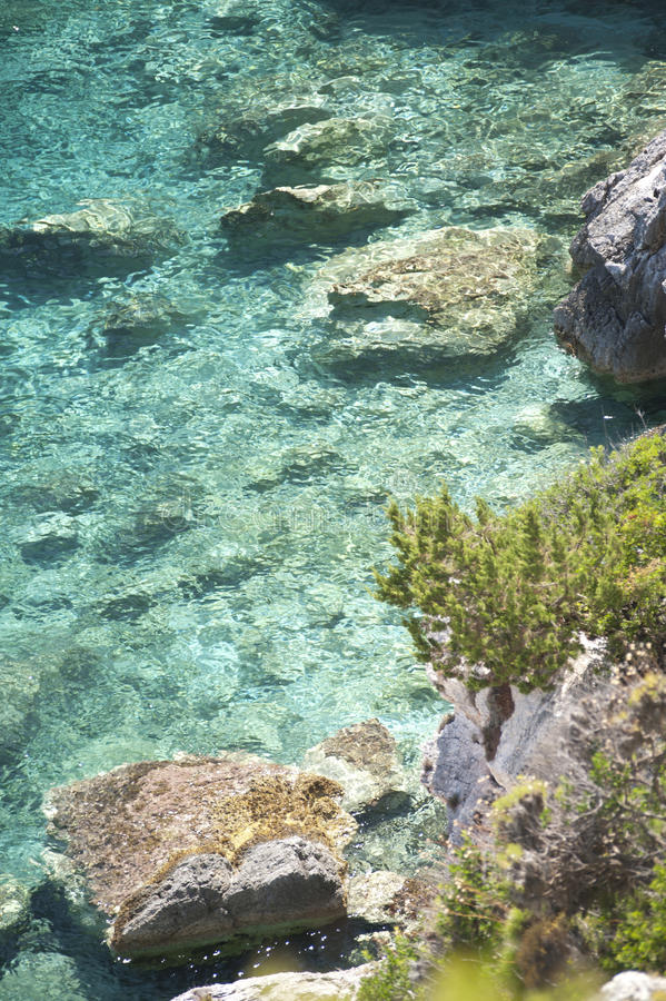 Series of stone sea beach. Series of stone beach in Zakynthos. Blue unreal water stock image