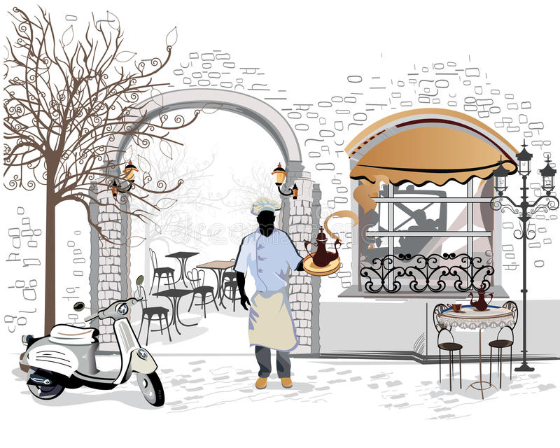 Series of the street cafes with a cook vector illustration