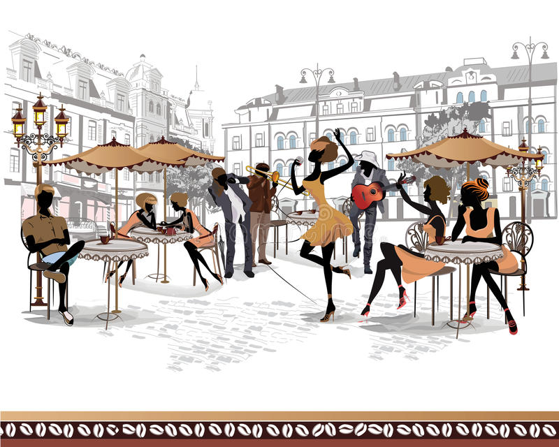 Series of street views in the old city with musicians stock illustration