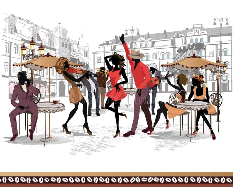 Series of the streets with musicians and dancing couples in the old city. vector illustration