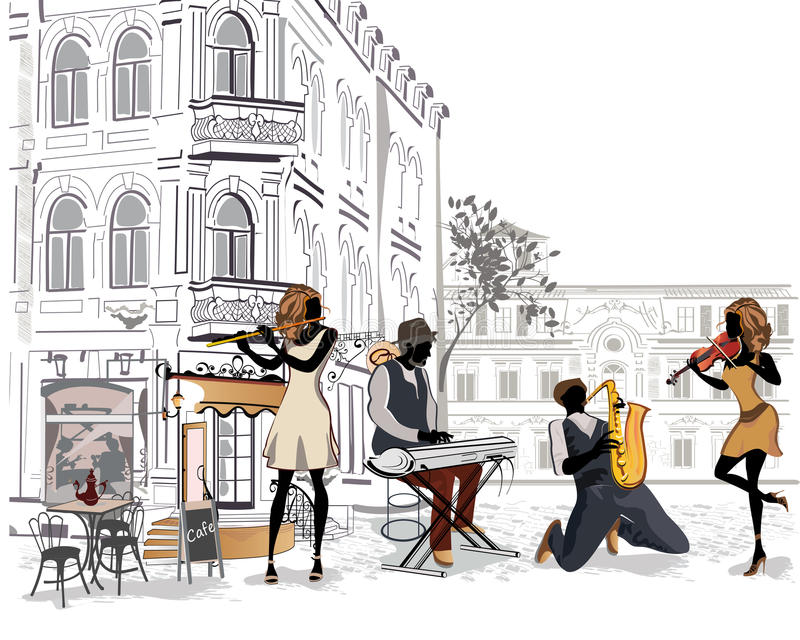 Series of the streets with musicians in the old city. royalty free illustration