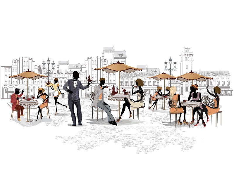 Series of the streets with people in the old city stock illustration