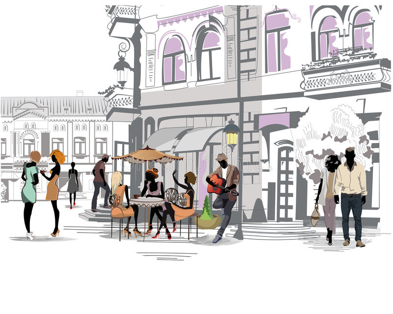 Series of the streets with people in the old city royalty free illustration