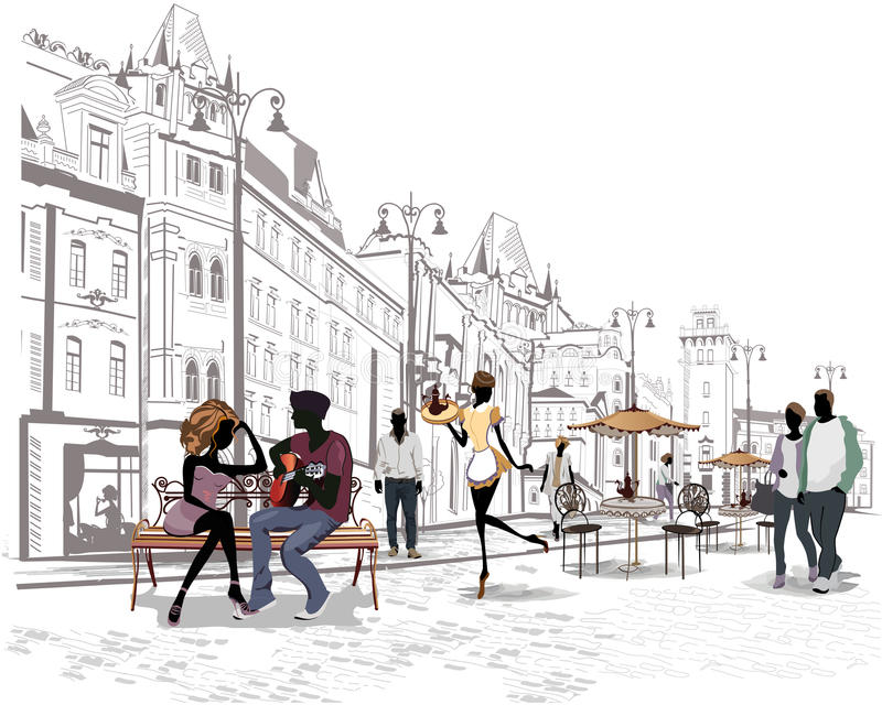 Series of the streets with people in the old city, street cafe royalty free illustration