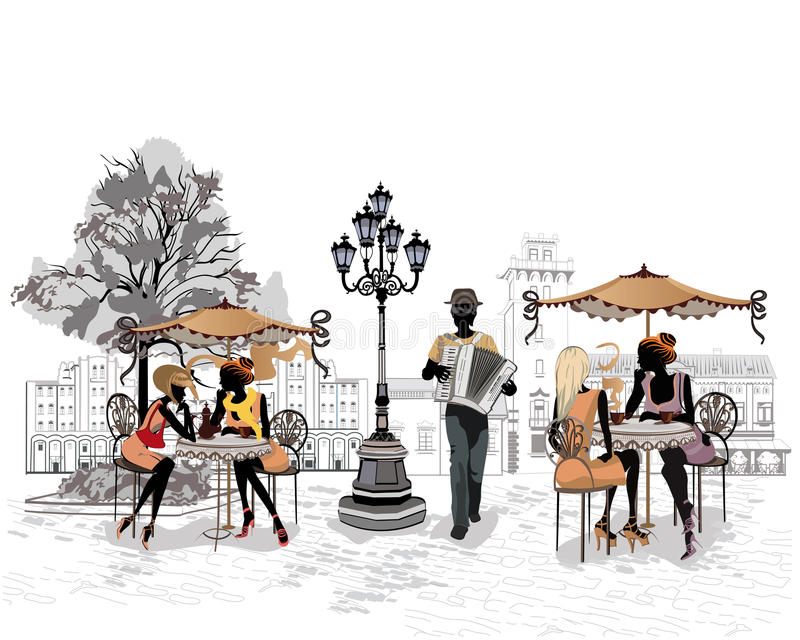 Series of the streets with people in the old city, street musicians with an accordion. Street cafes vector illustration