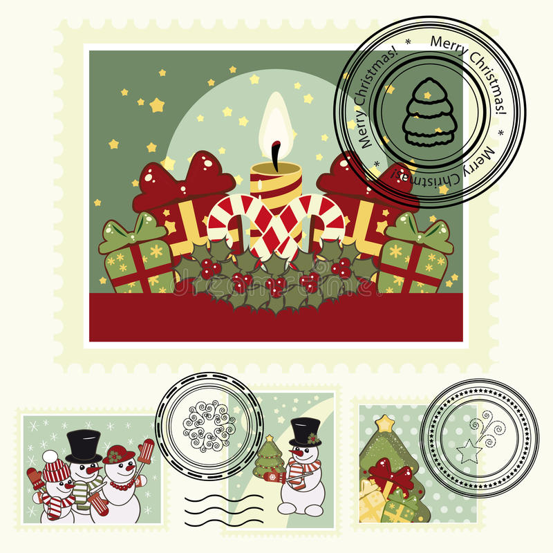 Series of stylized Christmas post stamps. stock images