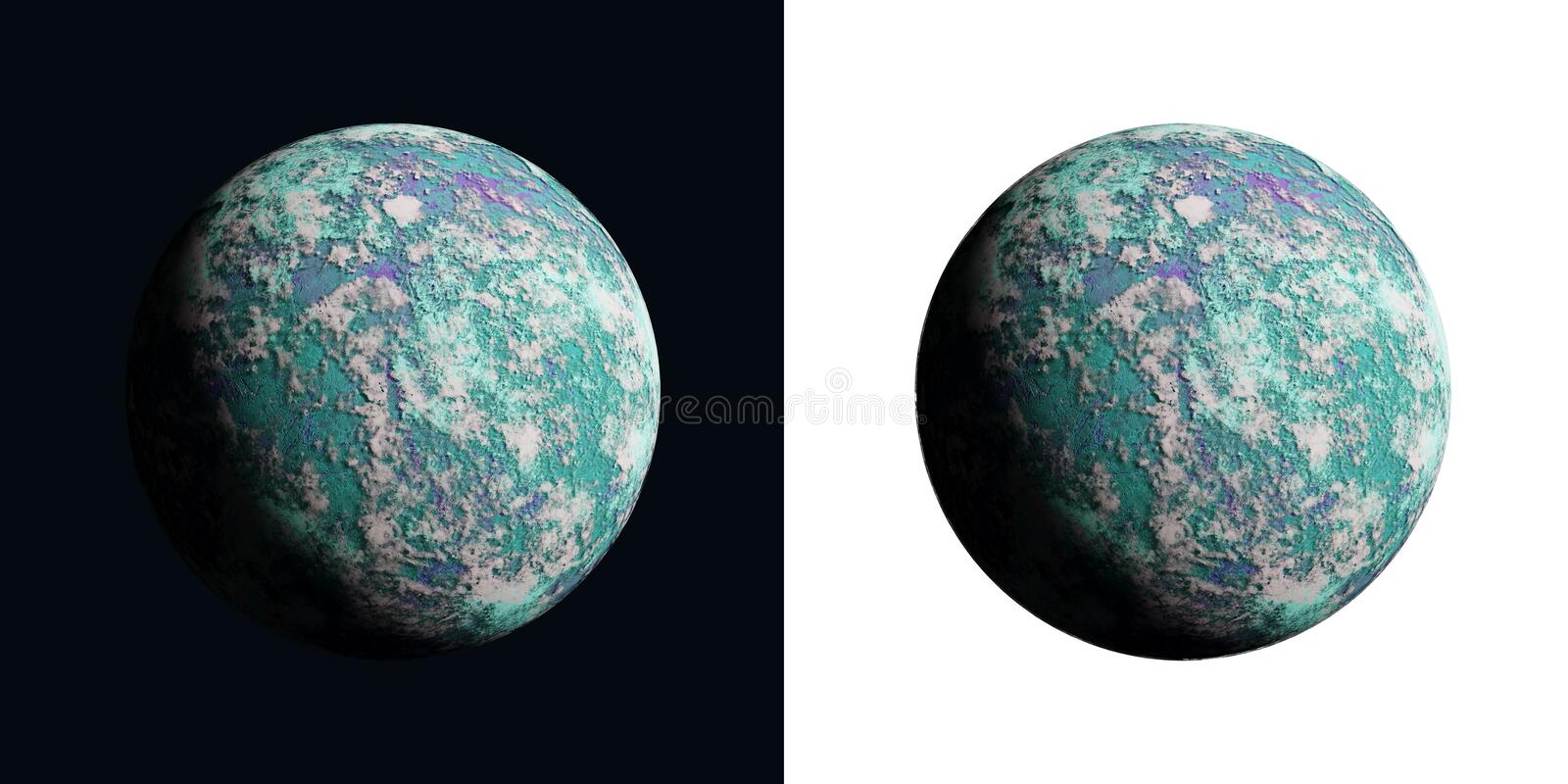 A series of unknown planets on an isolated background royalty free stock photo
