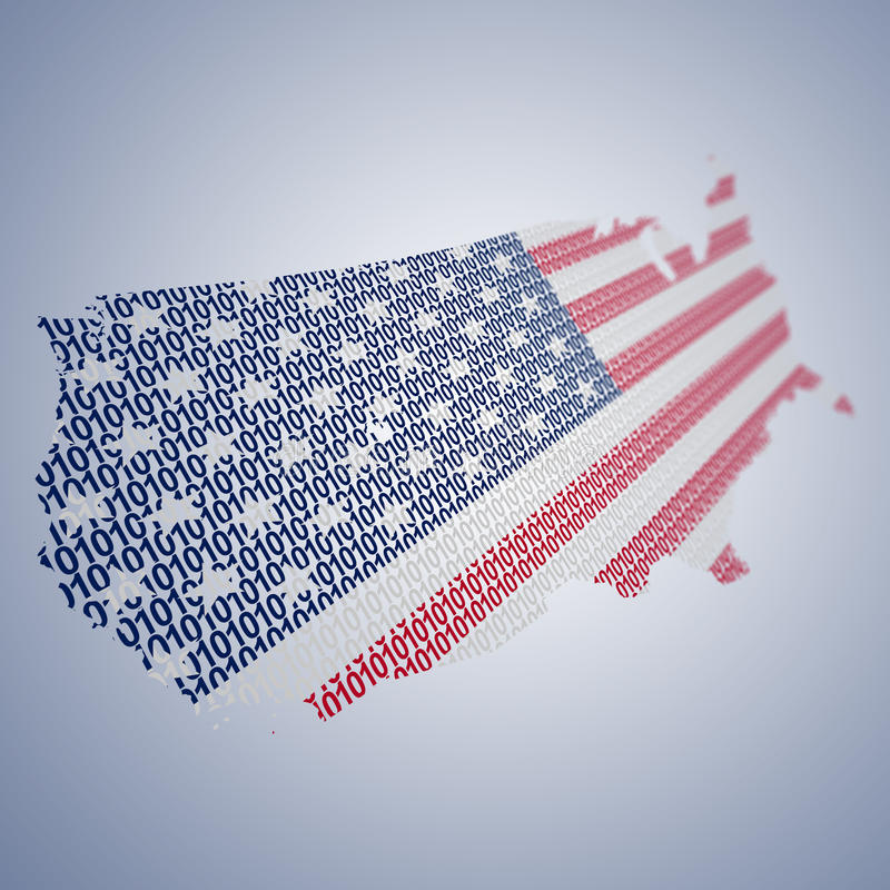 Series of USA flags formed and shaped creatively - binary code royalty free illustration
