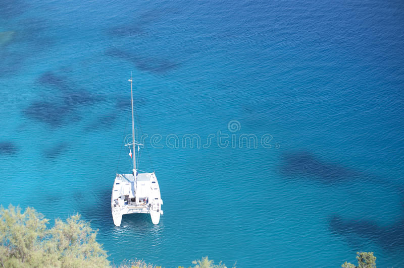 Series of yacht in blue sea royalty free stock image