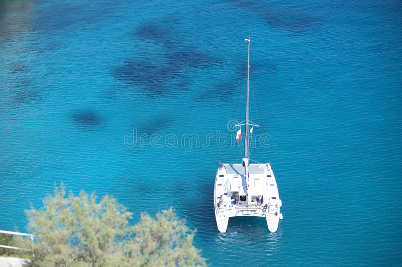 Series of yacht in blue sea royalty free stock images