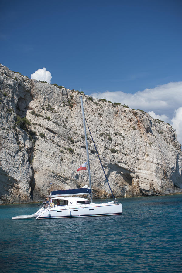 Series of yacht in blue sea stock photos