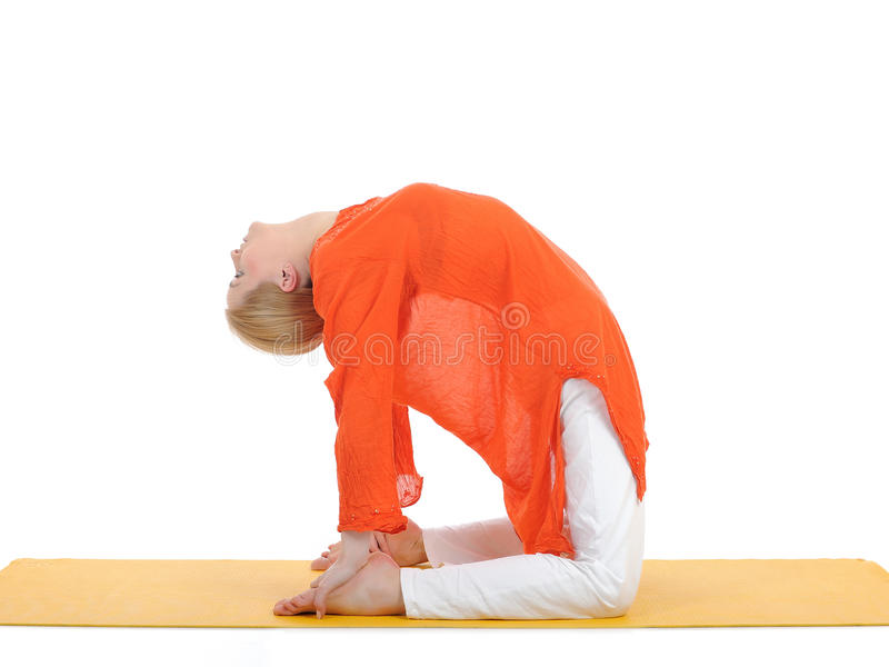 Series Or Yoga Photos.young Woman In Camel Pose Stock Photo