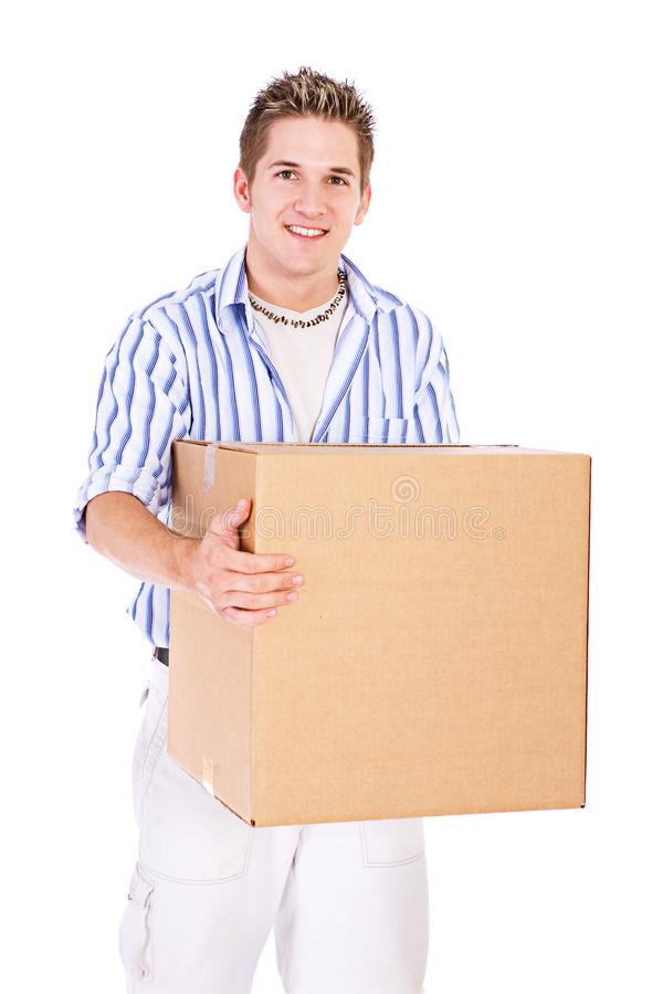 Student: College Guy Holding Cardboard Box Of Stuff royalty free stock image