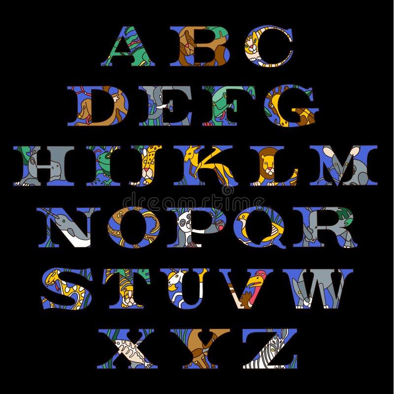 Serif alfabetbrieven met gekleurde krabbeldieren en huisdieren dat worden geplaatst royalty-vrije illustratie