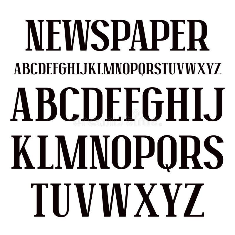 Serif doopvont in krantenstijl royalty-vrije illustratie