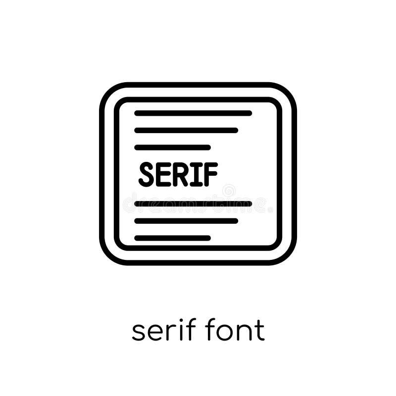 Serif doopvontpictogram In moderne vlakke lineaire vectorserif doopvontico vector illustratie