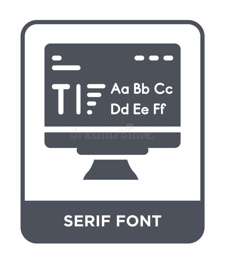 serif doopvontpictogram in in ontwerpstijl serif doopvontpictogram op witte achtergrond wordt geïsoleerd die serif eenvoudig en m stock illustratie