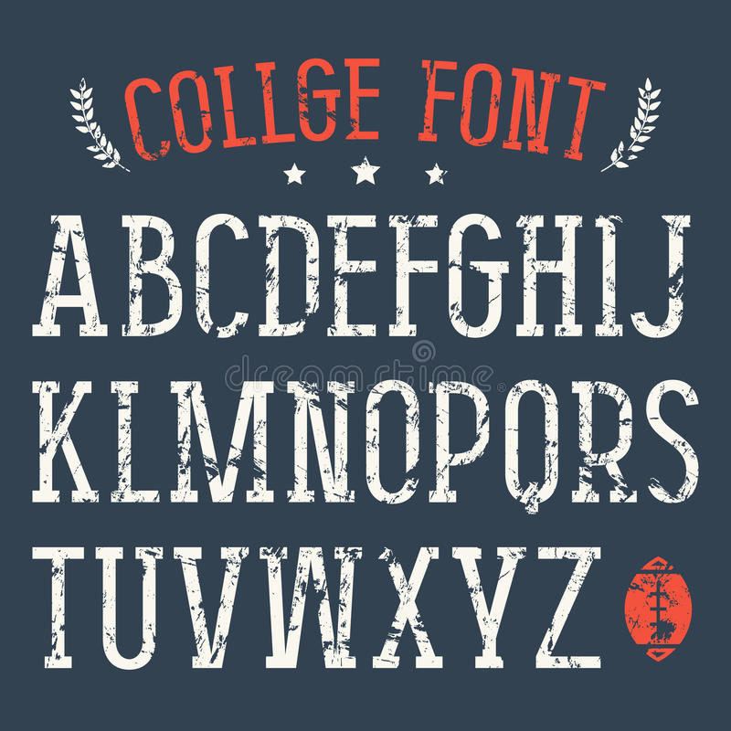Serif font in college style vector illustration