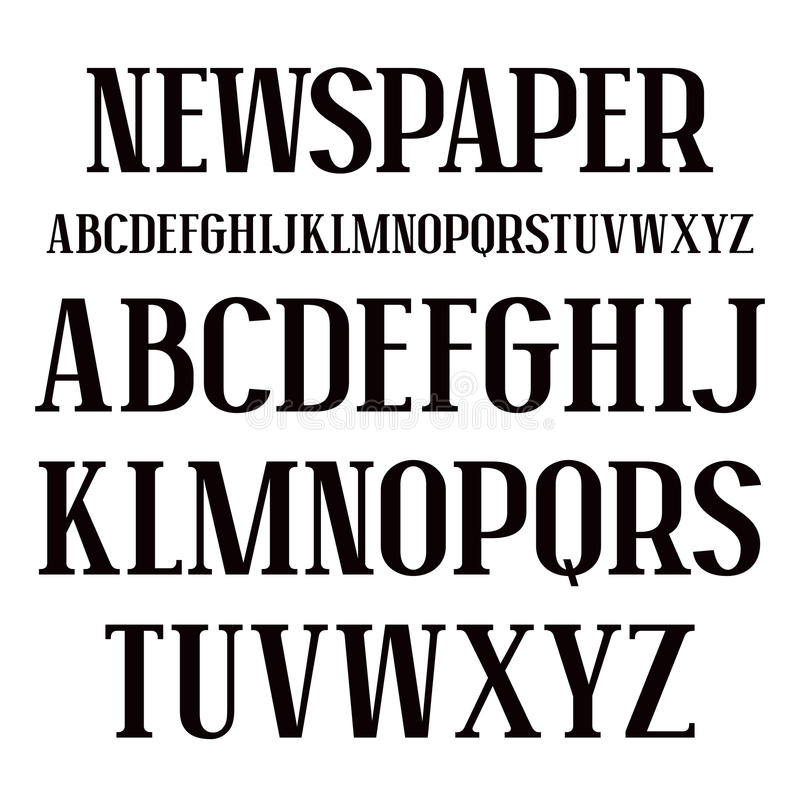Serif font in newspaper style royalty free illustration