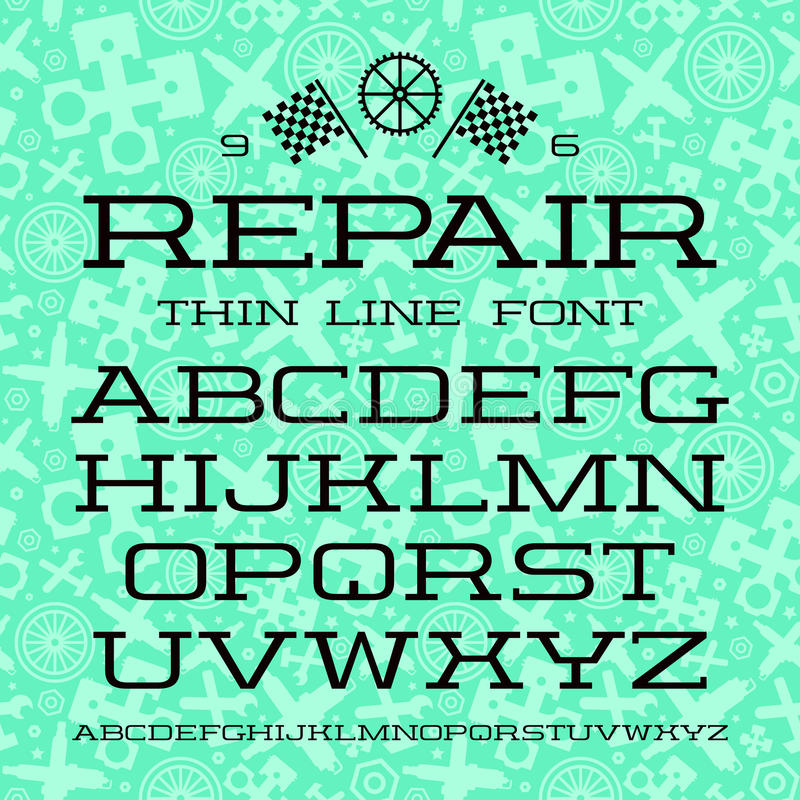 Serif font in thin line style. Black font on green pattern background vector illustration
