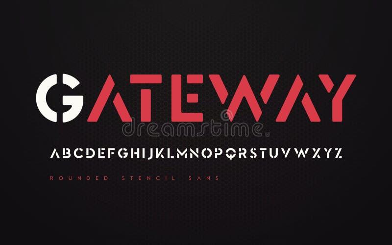 Serif futurista arredondado de san do estêncil, alfabeto, letra de caixa ilustração royalty free