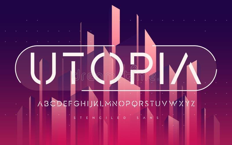 Serif mínimo Stenciled de san, alfabeto, letras de caixa, typogr ilustração royalty free