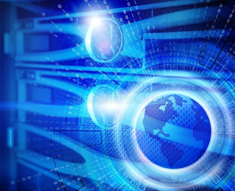 Serii przechowywanie na dysku dyski komputer mainframe w dane centrum z prędkość interneta technologią z 3d planety ziemią cześć ilustracji