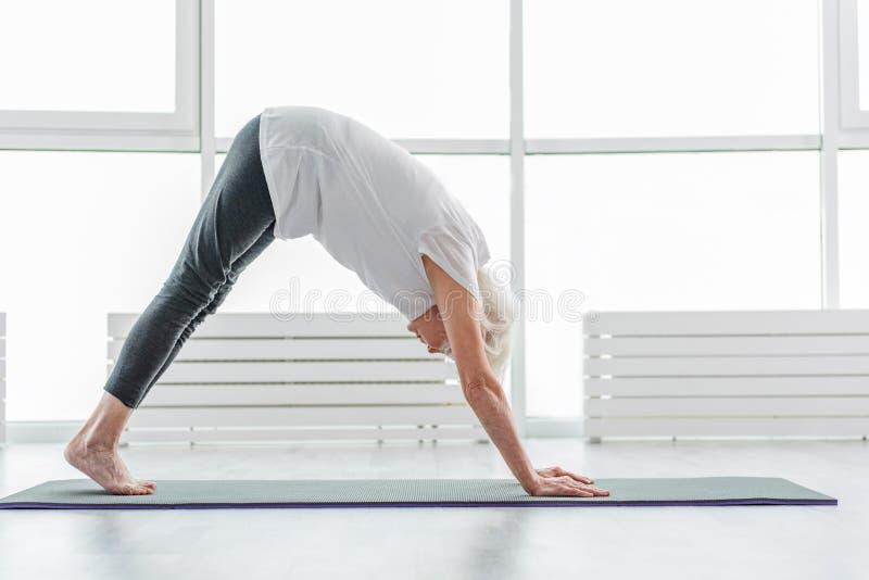 Serine mature lady doing yoga royalty free stock photography