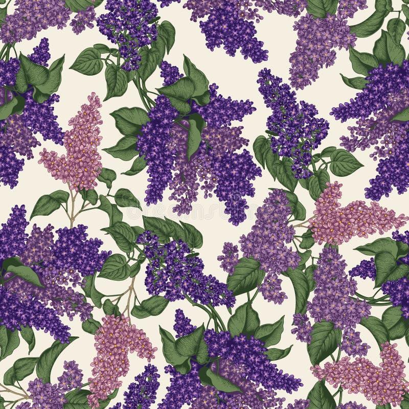 sering Vector naadloos patroon in uitstekende stijl enkel Geregend Bloeiende struiken E royalty-vrije illustratie