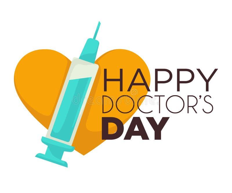 Seringa e coração isolados do ícone dos doutores dia feliz ilustração stock