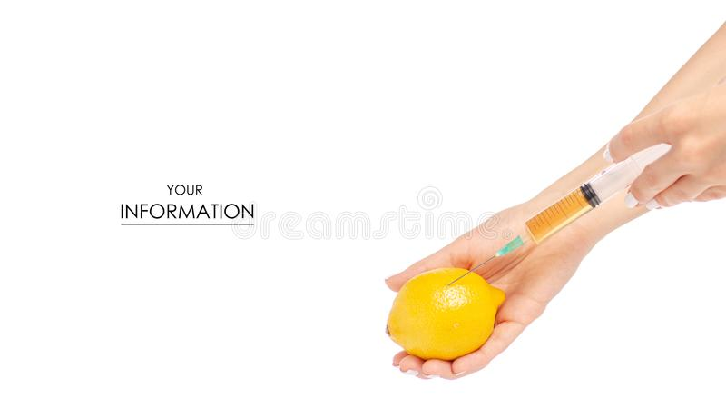 Seringa nas mãos do teste padrão tóxico médico do limão fotografia de stock royalty free