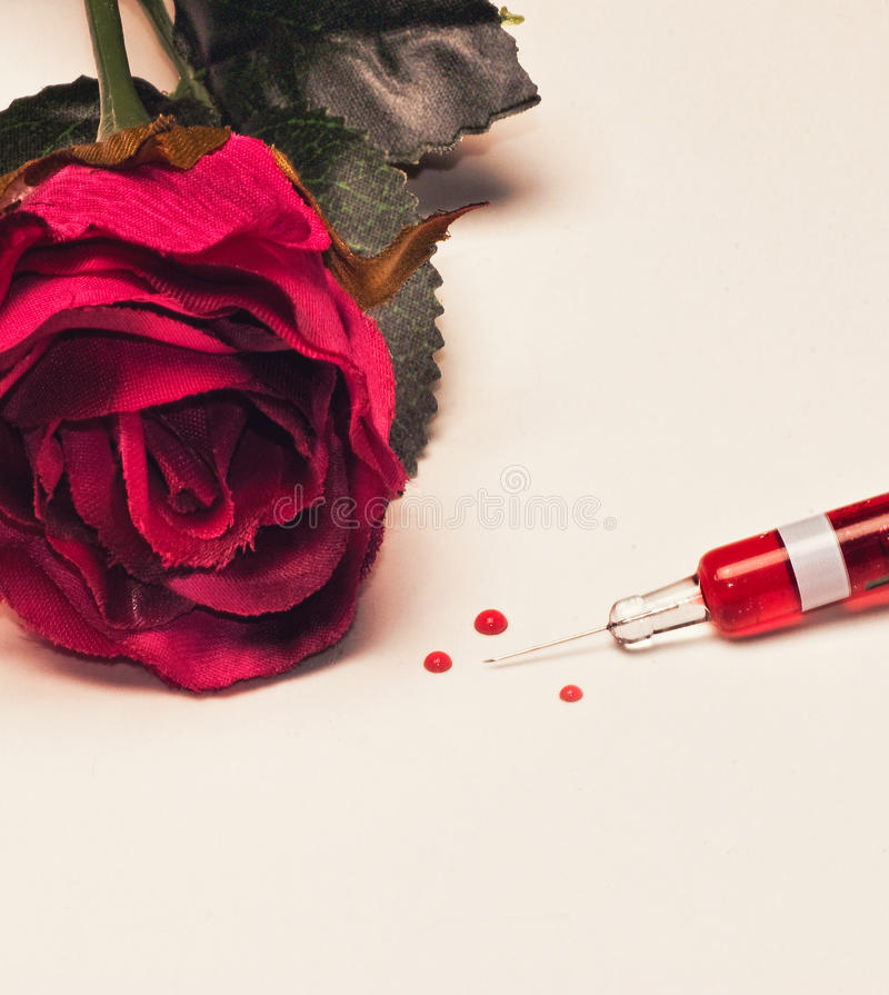 The seringe and the red rose. A seringe, a red rose, and tree drops of red fluid on a white background stock photography