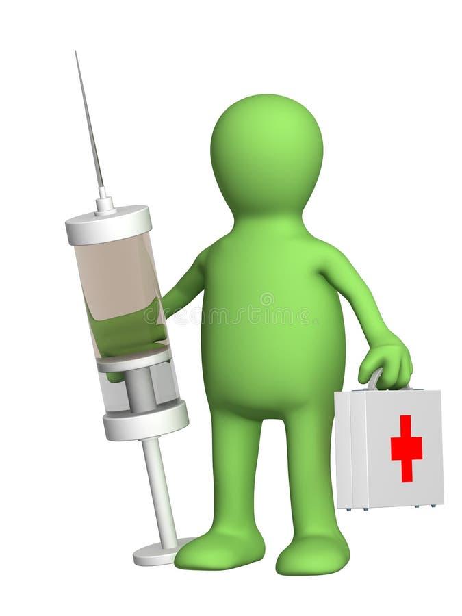 seringue de marionnette de docteur illustration stock