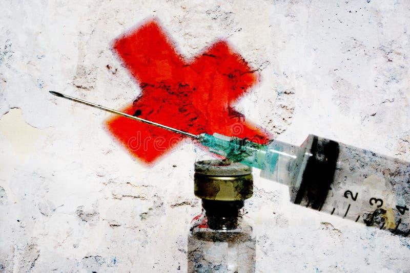 Seringue et Croix-Rouge illustration libre de droits