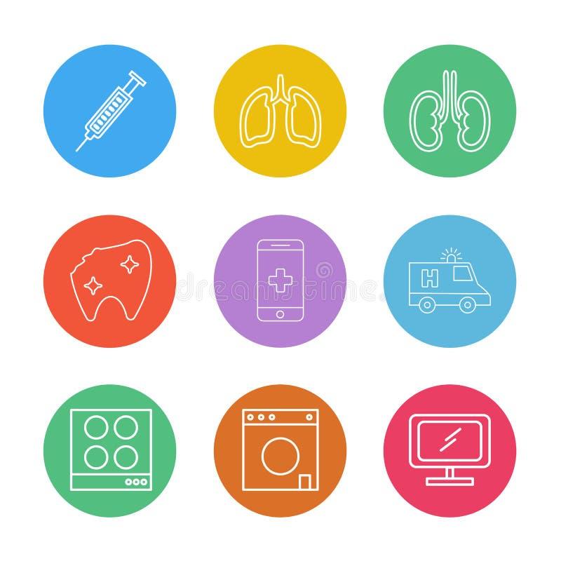 seringue, poumons, reins, dents, mobile, ambulance, TV, PE illustration libre de droits