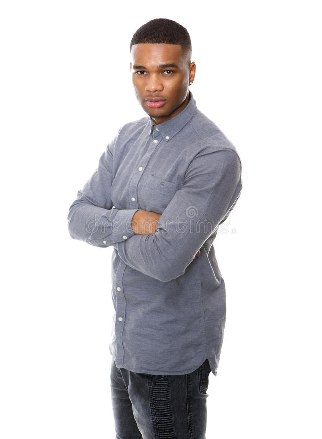 Serious african american man posing with arms crossed royalty free stock photo