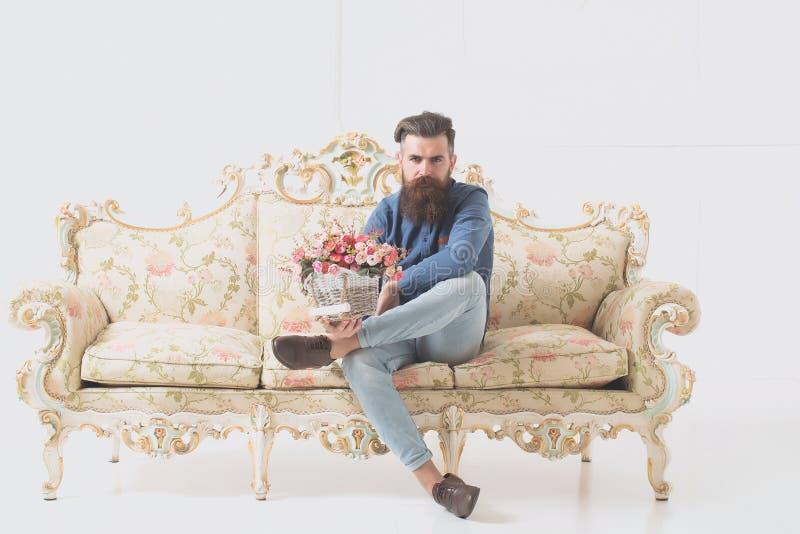Serious bearded man stock photo