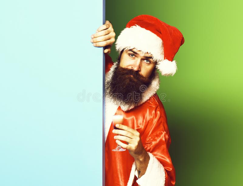Serious bearded santa claus man with long beard stock photography
