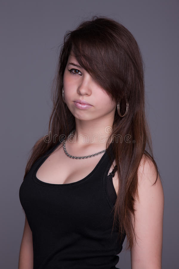 Serious beautiful woman, looking up royalty free stock photo