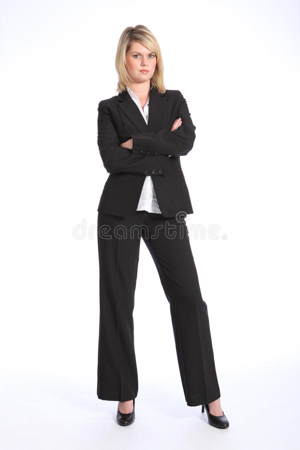 Serious Blonde Woman In Business Suit Arms Folded Royalty Free Stock Image